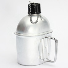 Hot Outdoor Sport Military Aluminum Stainless Steel Water Bottle Canteen Kettle Army Green Cloth Cover For Camping Picnic Travel(China)