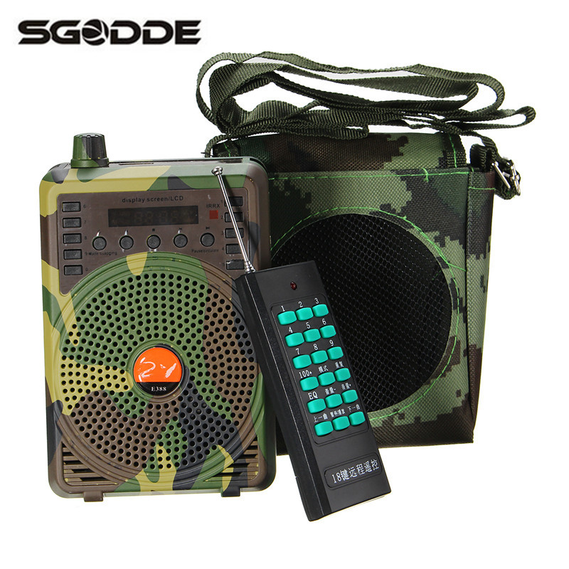 SGODDE New Mini Portable Camouflage 48W Hunting Decoys Speaker Birds Call Predator Sound Caller MP3 Player with Remote Control<br>