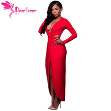 Dear-Lover High Low Dresses Red Cut Out Drape Slit Long Sleeve Maxi Dress LC61184