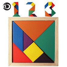 High Quality Children Mental Intelligence Development Tangram Wooden Jigsaw Puzzle school Geometric Educational Toys for Kids(China)