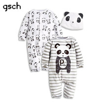 GSCH Sale Baby Romper Animal Long Sleeve 3Pcs (2 Romper+1 Hat) Set Baby Clothes Cartoon Panda Striped Baby Girl Clothes Bebes(China)