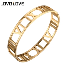 JOVO New Fashion Hollow Out Gold Bracelets for Women Roman Number Design Wide Cuff Bracelets & Bangle Female Wedding Gift(China)