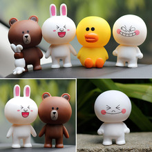 7cm PVC Line Brown Bear Cony Rabbit Moon Friends Action Figure Cute Decoration And Toys For Kids(China)