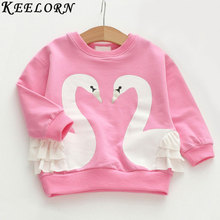 Keelorn Girls T-shirt 2017 New Autumn Winter style Long-sleeved Girls Clothes Cartoon swan Children Clothing Kids blouse(China)