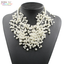 2017 New Z design simulated pearl necklace fashion luxury choker design simulated pearl pendant necklace