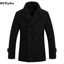 Casual Thick Warm Wool For Men's Coat Turn Down Collar Black Color Mens Pea Coat Jacket(China)