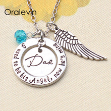 I used to be his angel now he is mine Gifts for daddy Inspirational Necklace with Wing Hand make Jewelry #LN1324