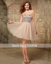 New Designer Champagne A Line Short Crystal Homecoming Dresses 2017 Sequined Strapless Above Knee 8th Grade Graduation Dresses