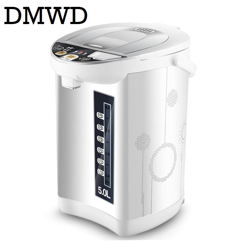 DMWD Household electrical kettle stainless steel thermal insulation teapot 5L quick heating hot water bottle boiler heater EU US<br>
