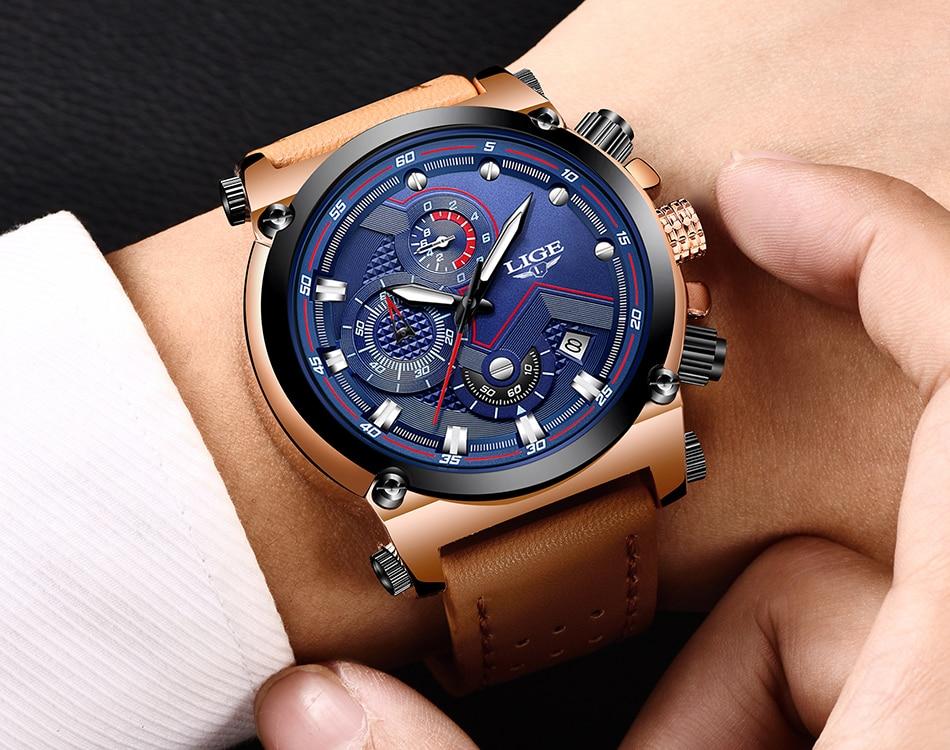 Reloje 18 LIGE Men Watch Male Leather Automatic date Quartz Watches Mens Luxury Brand Waterproof Sport Clock Relogio Masculino 15
