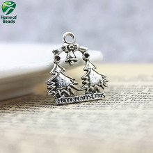 2017 latest popular high quality DIY antique silver Two alloy Christmas Trees pendants (50 pieces/pack)  ZA1104