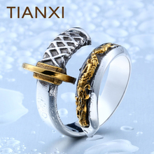 TIANXI New Store 316L Stainless Steel Thailand Imported Japanese Samurai Sword Opening Knife Man`s Ring Unique Jewelry(China)