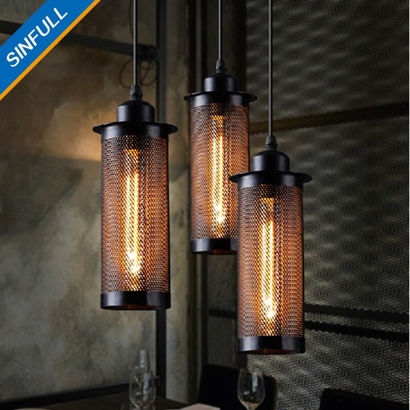 Restore Attic Creative Pendant Lights Metal Mesh Bar Personality Coffee Shop suspension lamp American Country Hanging Lighting<br>