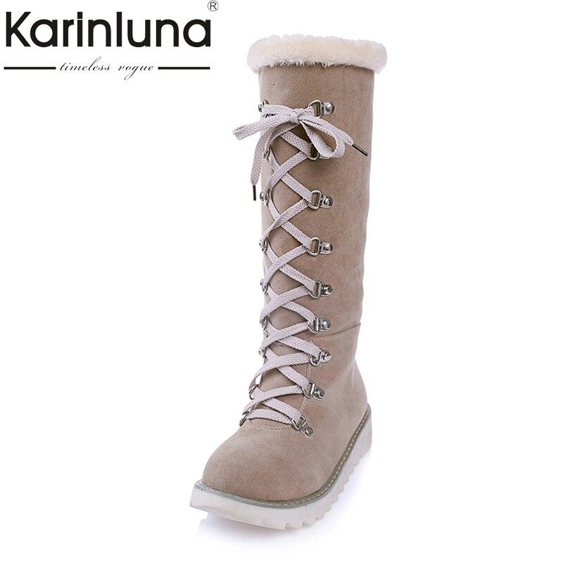 KARINLUNA Large Size 34-43 Shoelace Orange Beige Women Shoes Woman Casual Flat Heel Warm Fur Plush Winter Snow Knee High Boots<br>
