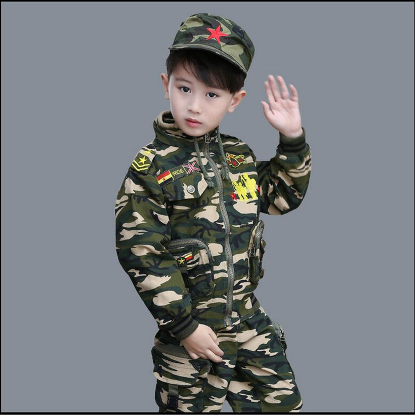 2018 spring and autumn male child camouflage set childrens clothing long-sleeve camouflage child children military <br>