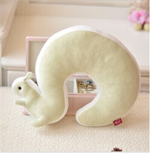 New Cute Novelty Squirrel Animal Cotton Plush U Shape Neck Pillow Travel Car Home Pillow Nap Pillow Health Care EJ871584(China)