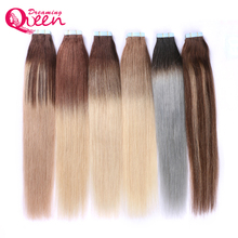Ombre Tape In Human Hair Extensions Machine Made Remy Brazilian Straight Hair 50g 20pcs/Set Skin Weft Dreaming Queen Hair(China)