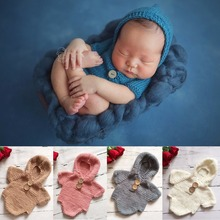 Puseky Newborn Baby Crochet Romper Knit Costume Prop Photo Photography Baby Hat Photo Props Newborn Baby Girls Hooded Outfit(China)