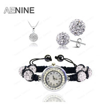 AENINE Watch Sets Necklace+Bracelet+Earrings Crystal Jewelry Watch Sets 10mm Micro Pave Disco Beads Crystal Jewelry Sets SHSE11(China)