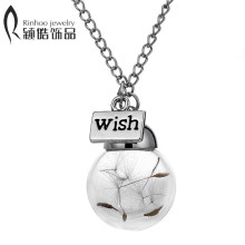 Glass bottle necklace Natural dandelion seed in glass long necklace Make A Wish Glass Bead Orb silver plated Necklace jewelry(China)