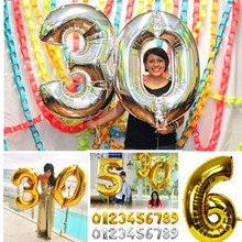 32inch Foil Balloons Gold Silver Helium Balloon Wedding Happy Birthday Balloons Decoration Big Number Balloon Giant Party Baloon(China)