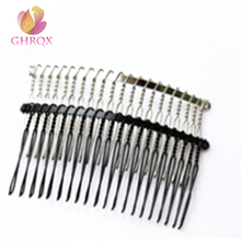 GHRQX 20Teeth Black /Gold /Rhodium Metal Hair Combs DIY Jewelry Accessories Findings & Components 3PCS(China)