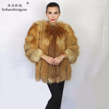 Linhaoshengyue  fashion winter warm real fur red fox fur women coat freeshipping