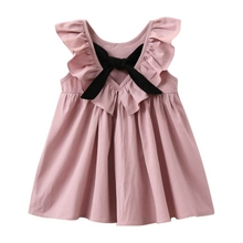 2017 New Princess Kids Baby Girls Dress Bow Tie Sleeveless Jumper Dresses Pleated Puff Sleeve Vestido Children Girls Apparel S2(China)