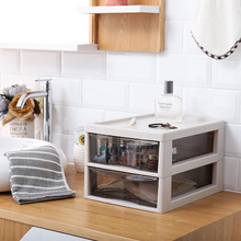 Double Layer Plastic Desktop With Drawer Type Cosmetic Storage Box Home Shelves Acrylic Drawer Storage Cabinet