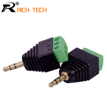 3.5mm 3ploe 1/8 Inch Stereo Male Plug to AV Screw Video Balun Terminal Jack 3.5 mm Male 3 pin Terminal Block Plug Connector(China)