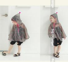 Cheap Sale Children Semi Transparent Waterproof Hooded Rain Coat Kids Rain Ponchos Cartoon Rainwear For Kids