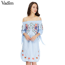 Vadim women off shoulder flower embroidery spaghetti strap dress bow tie sleeve side split ladies casual dresses vestidos QZ2964(China)