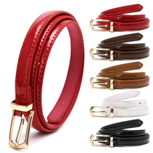 Hot! Lady Candy Color Thin Belt Alloy Buckle Faux Leather Waist Chain Strap Waistband Black/Red/White/Camel/Coffee(China)
