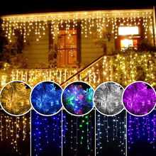 1 Set of 216 LED Hanging Icicle Curtain Lights Outdoor Fairy String Wedding Party Decoration Clubs Festival HolidayBacklighting