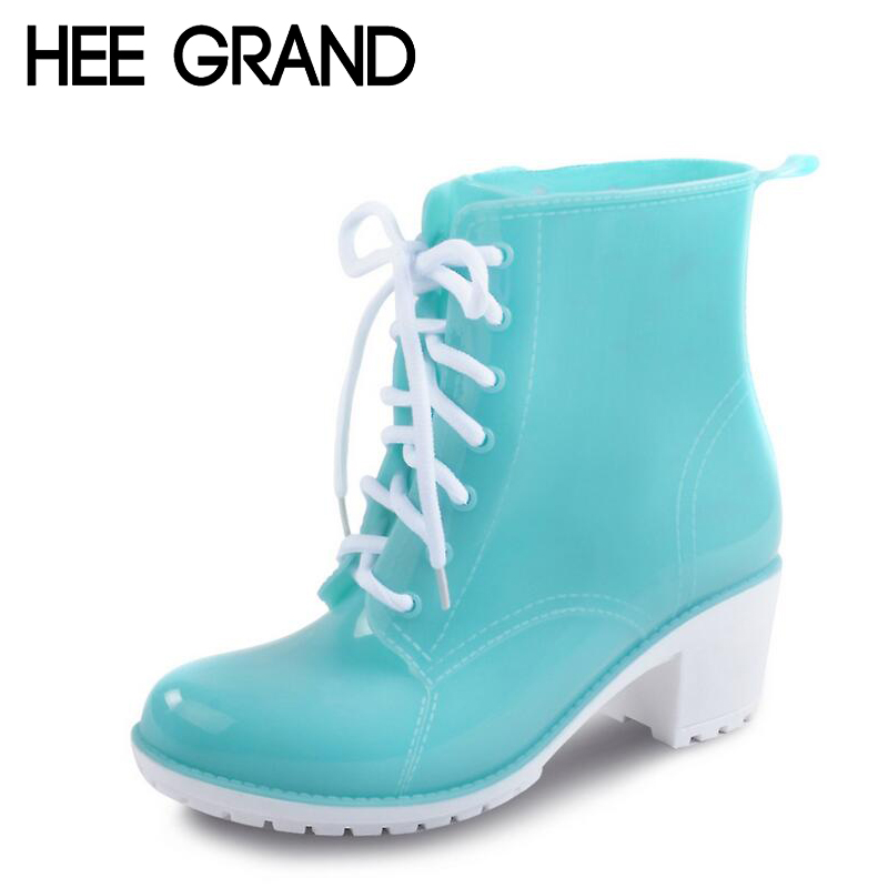 HEE GRAND Rain Boots Women Ankle Boots Platform High Heels Rubber Shoes Woman Lace Up Rainboots Candy Color Size 36-41 XWX4134<br><br>Aliexpress