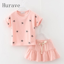 Hurave 2017 baby girls leisure clothes suit summer fashion dress suit children dress clothing sets kids outfits suit