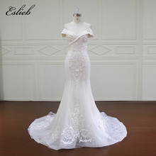 New Off the Shoulder V Neck Appliques Lace Bridal Gown Mermaid Court Tail Special Design Wedding Dress Empire Lace Up Gown(China)