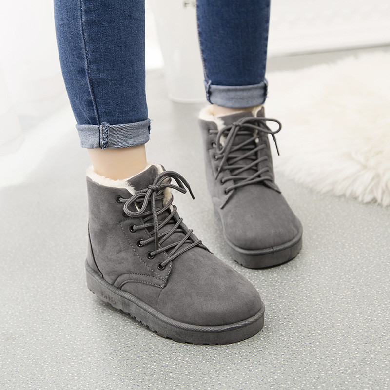 NEW 2017 Womens shoes autumn and winter snow boots flat with students plus thick velvet lace Duantong frosted tide shoes boots<br><br>Aliexpress