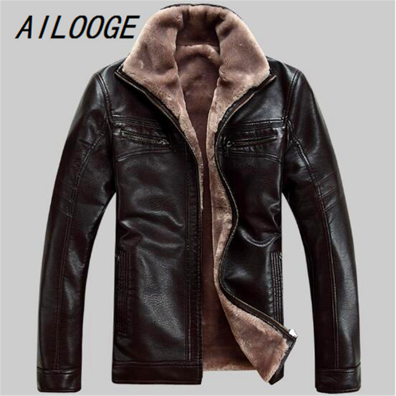 AILOOGE FreeShipping Hot Sale Winter Thick Leather Garment Casual flocking Leather Jacket Men's Clothing Leather Jacket Men