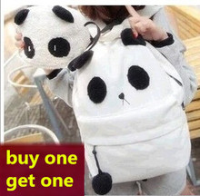 20L cute style girls corduroy panda backpack middle schoolbag mochila feminina Buy one get one 2015 NEW(China)