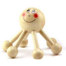 1pc Smiling Face Massager Head Hand Wooden Massage Roller 6 Legs