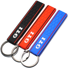 Cool Silicone GTI Logo Emblem Badge Car Keychain Key Ring for VW Golf MK2 MK3 MK4 MK5 MK6 MK7 Polo Car Styling Auto Accessories(China)