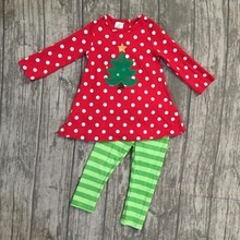 Christmas baby girls clothes Fall/winter outfits cotton boutiques tree red ruffle polka dot back striped pant match accessories(China)