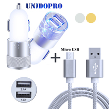 Dual USB Car Charger + 3FT Micro USB Cable for Amigoo R9 Max , R700 A5000 R900 M1 Max , R200 R300 V10 H8 H3000 H2000 H6 H9 MG100(China)