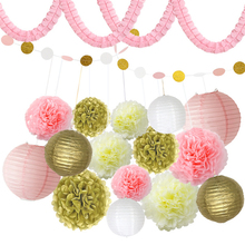 HAOCHU 18pcs/set Romantic Pink Gold White Round Paper Lantern Four Leaf Clover Paper Garland Wedding Christmas Party Decor Set(China)