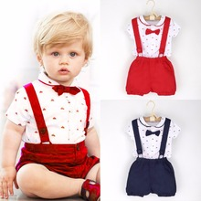 2017 Summer 2pcs Toddler Baby Kids Clothes Infant Boys Gentleman Outfits T-shirt Romper Tops + Suspender Shorts Set 1-6T