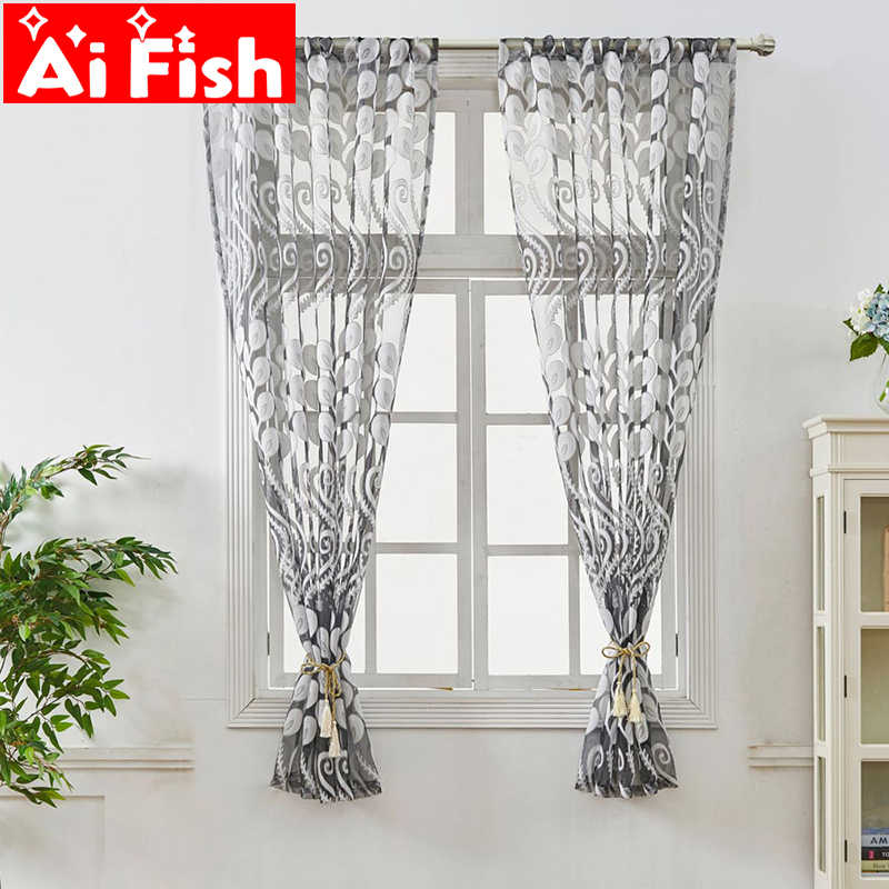 modern Short kitchen curtain window treatment gray peacock tail jacquard home textile sheer curtain panel tulle drapes DL045#4
