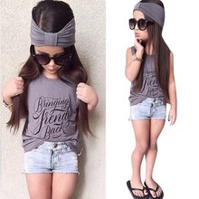 Fashion Baby Girls Cloth Set Letter Print Summer T shirt+Denim Shorts With Headband Suit Costume 3PCS