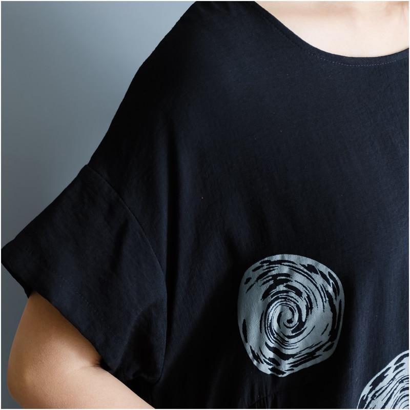 DIMANAF Women Summer Dress Big Size Cotton Linen Casual Soft Style Black Polka Dot Oversized Loose Female Sundress Clothing 2018 21