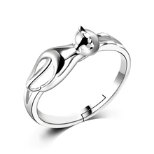 Lovely Design Climbing Mini Cat Finger Rings Women Gifts Birthday Anniversary Smooth Solid 925 Silver Sterling Jewelry Rings